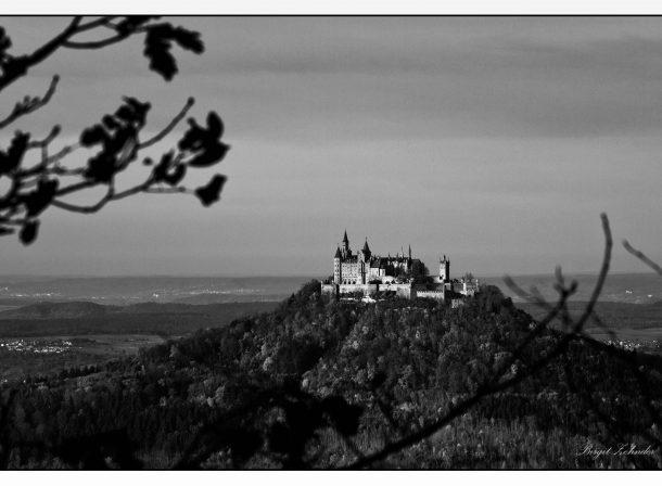 Burg Hohenzollern schwarz/weiß